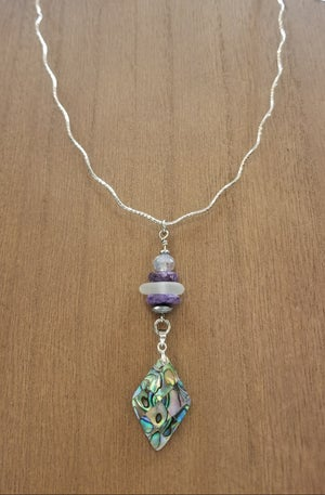 Image of Sea Glass- Abalone- Purple Charoite- Crystal- Silver Necklace- #277