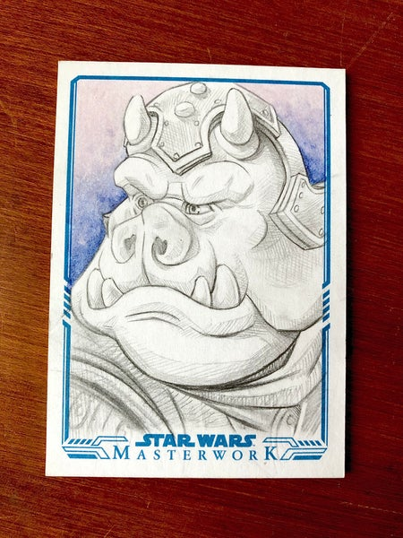 Image of Gamorrean guard (official topps sketch card)