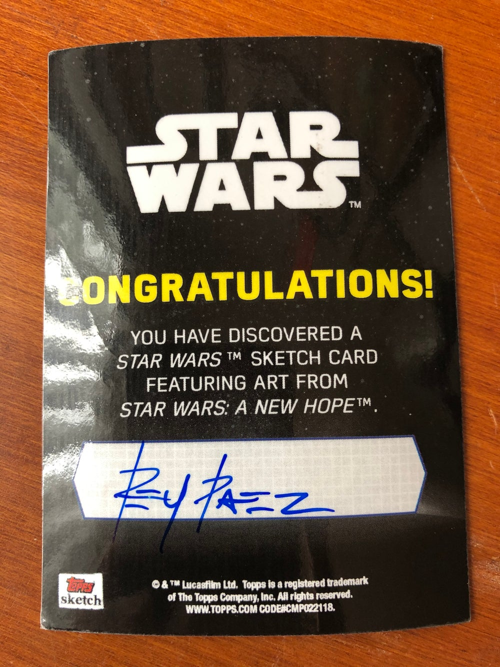 Cantina band member (official topps sketch card )