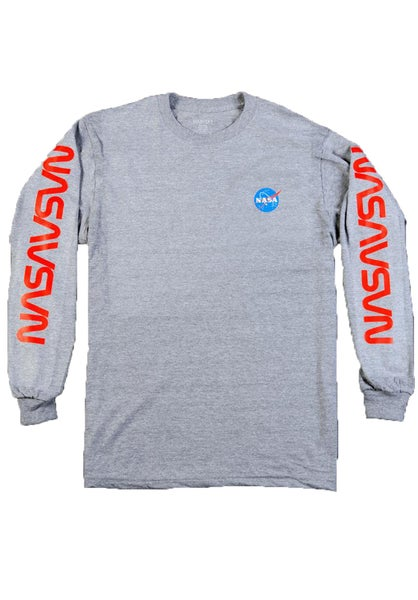 Image of Habitat NASA Worm Repeat L/S T-Shirt - Grey Heather