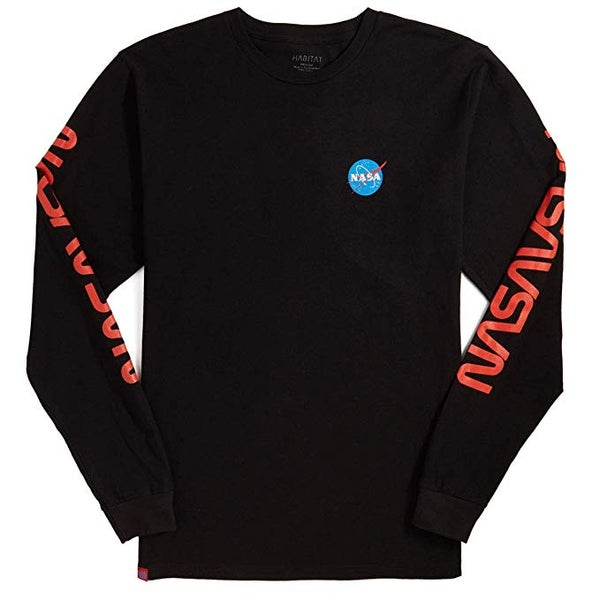 Image of Habitat NASA Worm Repeat L/S T-Shirt - Black