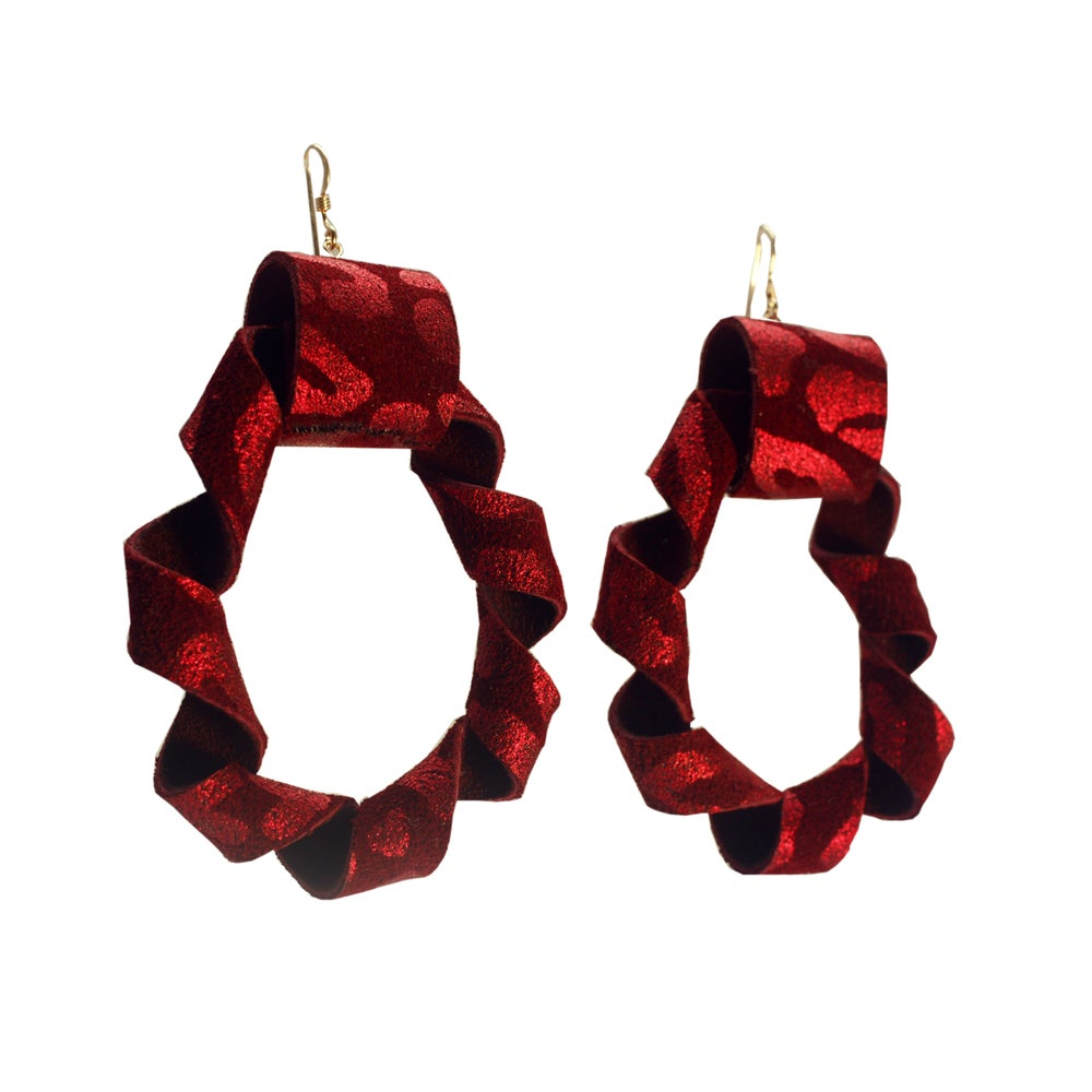 Image of Twisted Hoops Earrings - Leopard Red