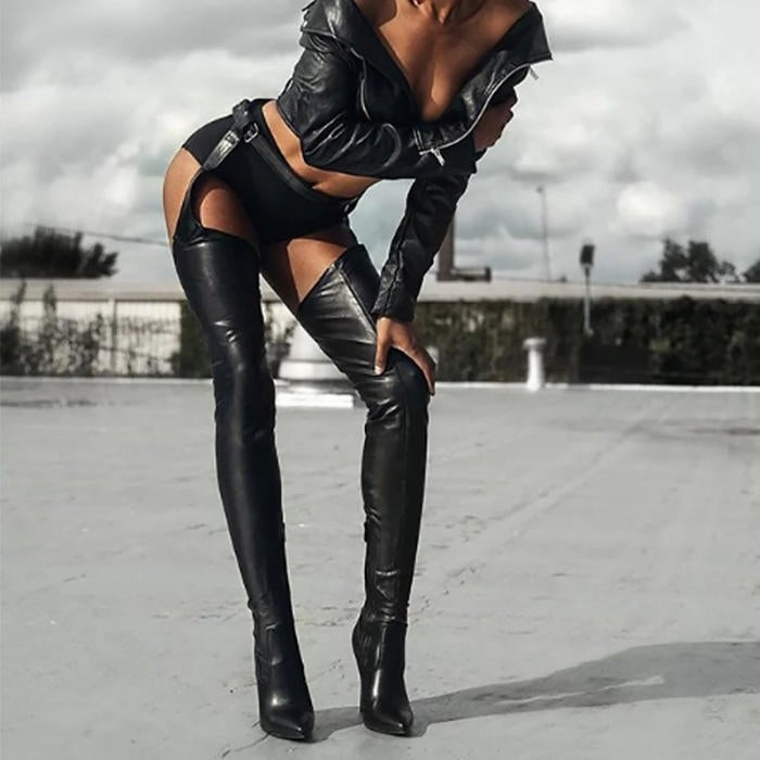 "Image of ""Bad Girl"" Faux Leather Chap Boots"