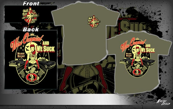 Image of Vintage Pinup Hell Bent Race Cars Army Green T-Shirt