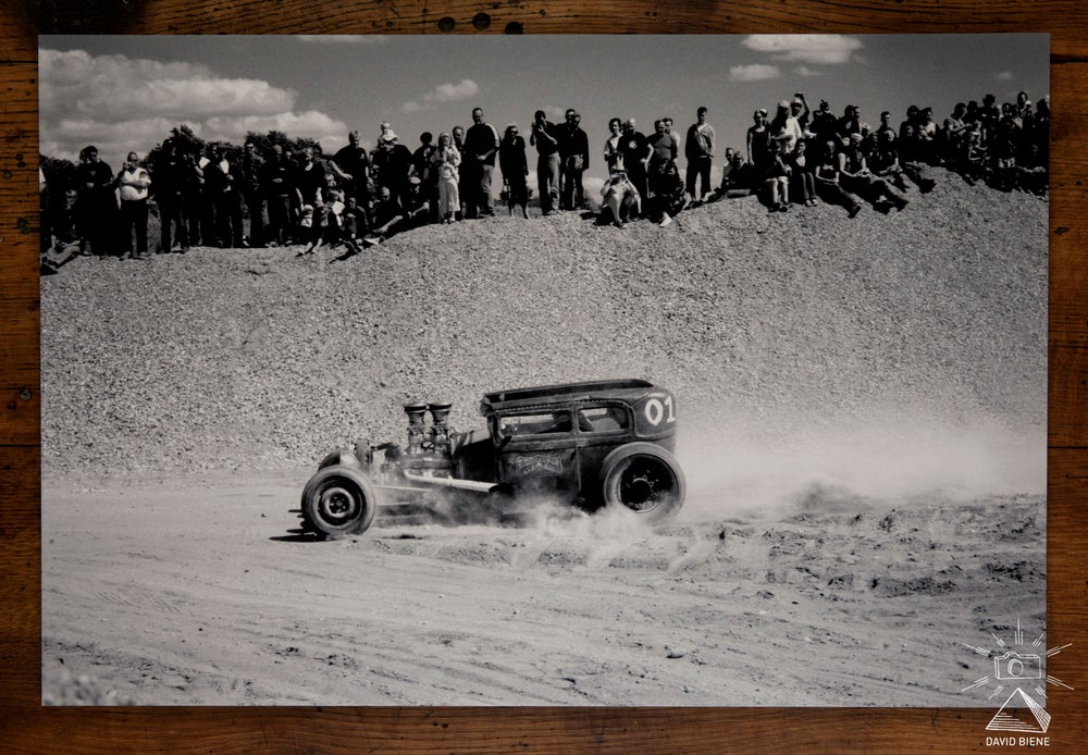 Image of Nicklas racing his rod through the gravel pit, DK, 2008