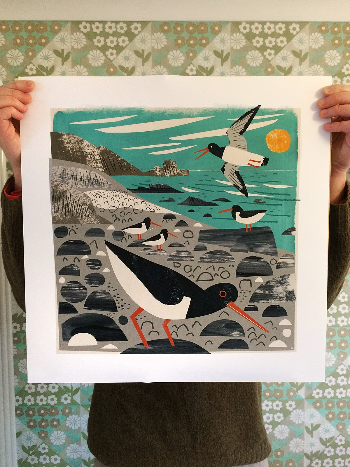 Image of St Loy Cove Oystercatchers Print