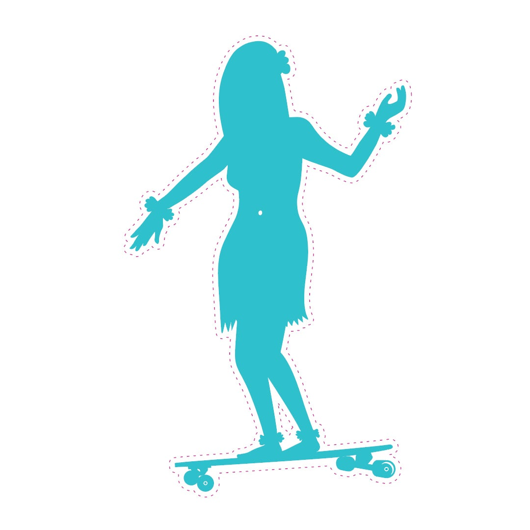 "Image of 3"" Blue Hula Die cut sticker"