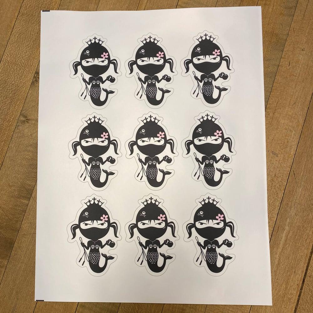 "Image of Mermaid Gang 9 stickers per sheet 3"" per sheet"