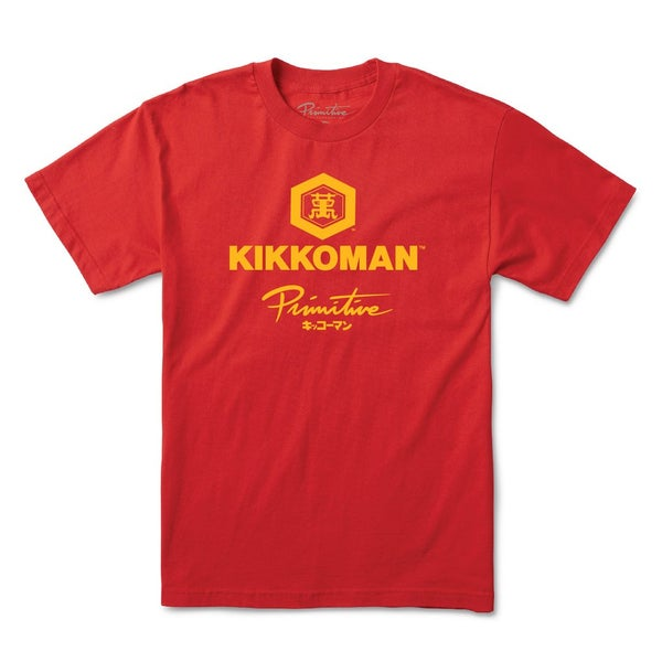 Image of PRIMITIVE x KIKKOMAN SOY SAUCE T-SHIRT - RED