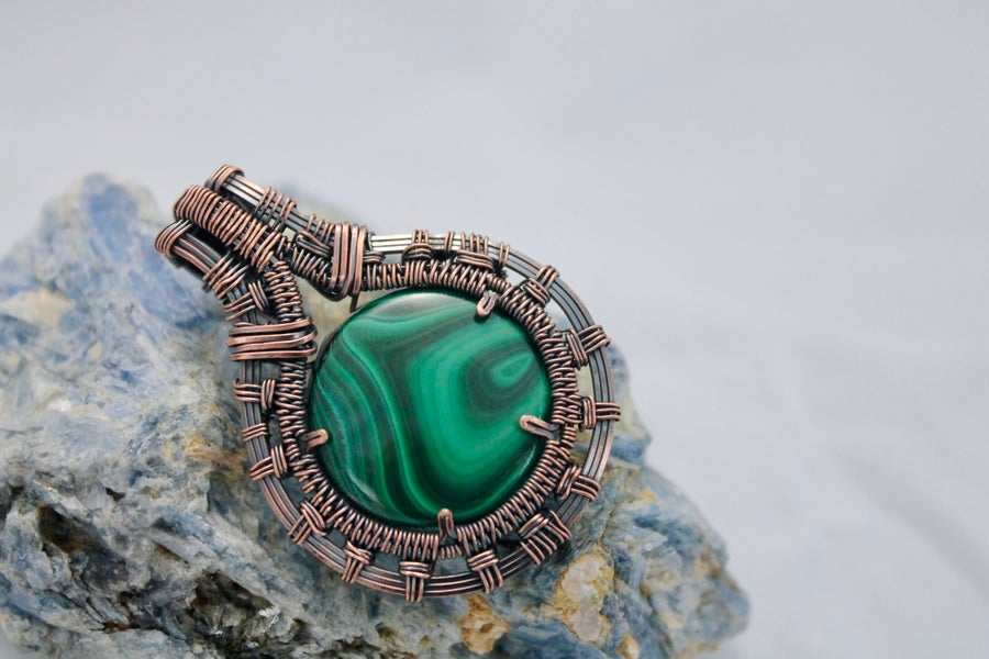 "Image of ""Lyran"" Round Wire Wrapped Malachite Amulet Pendant in Oxidized Copper Wire"