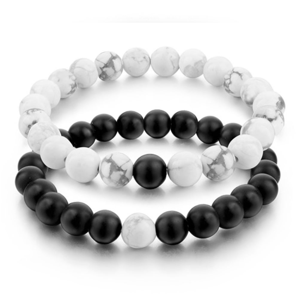 Image of onyx and hematite bracelet pair