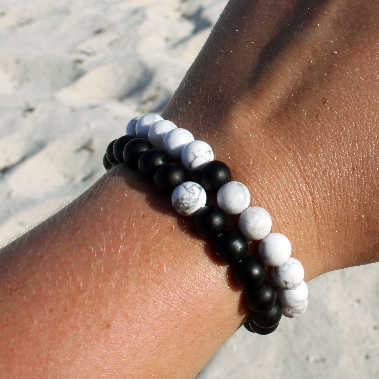 Image of onyx and hematite bracelet pair