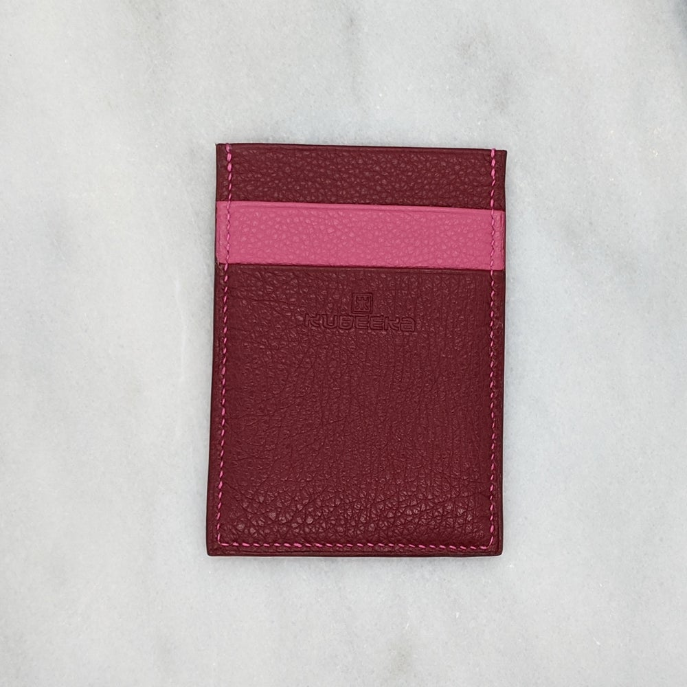 Image of CARD Holder Vertical – Burgundy & Pink