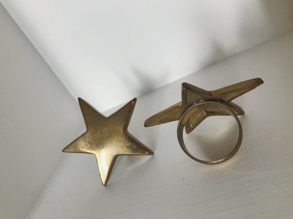 Image of Brass Star Napkin Rings - Set of 2