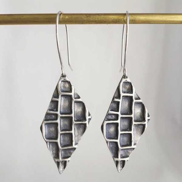 Image of Silver Hive Earrings with hooks