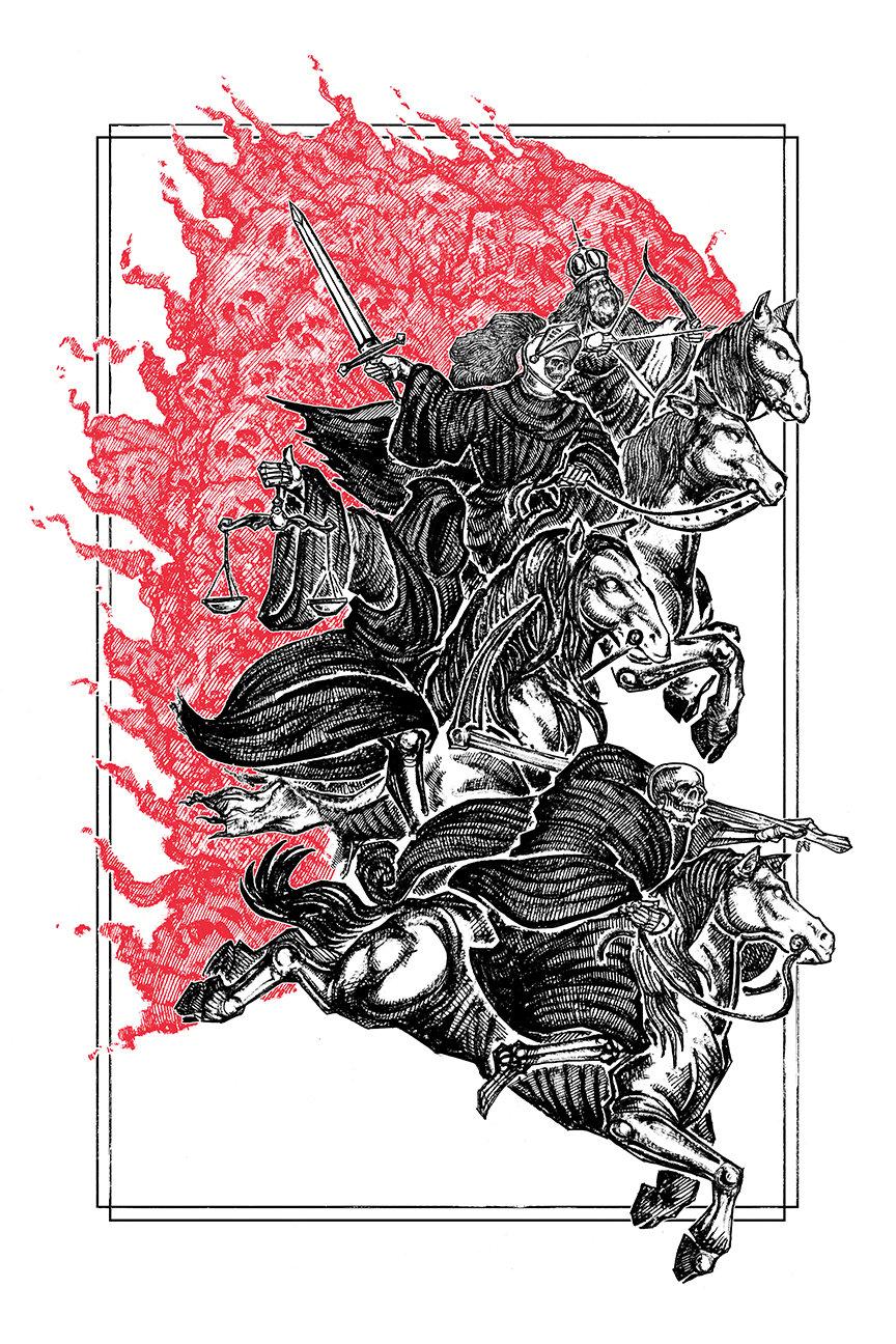 """Image of """"The Horsemen"""" 8.5""""x11"""" Watercolor Print"""