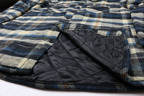 """Image of AGGRO Brand """"Oceans II"""" Quilted Plaid Flannel Jacket"""