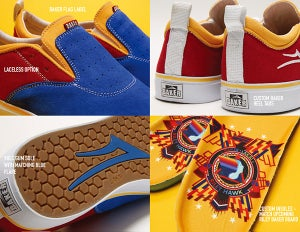 Image of LAKAI x BAKER RILEY 2 BLUE RED YELLOW SUEDE SHOES