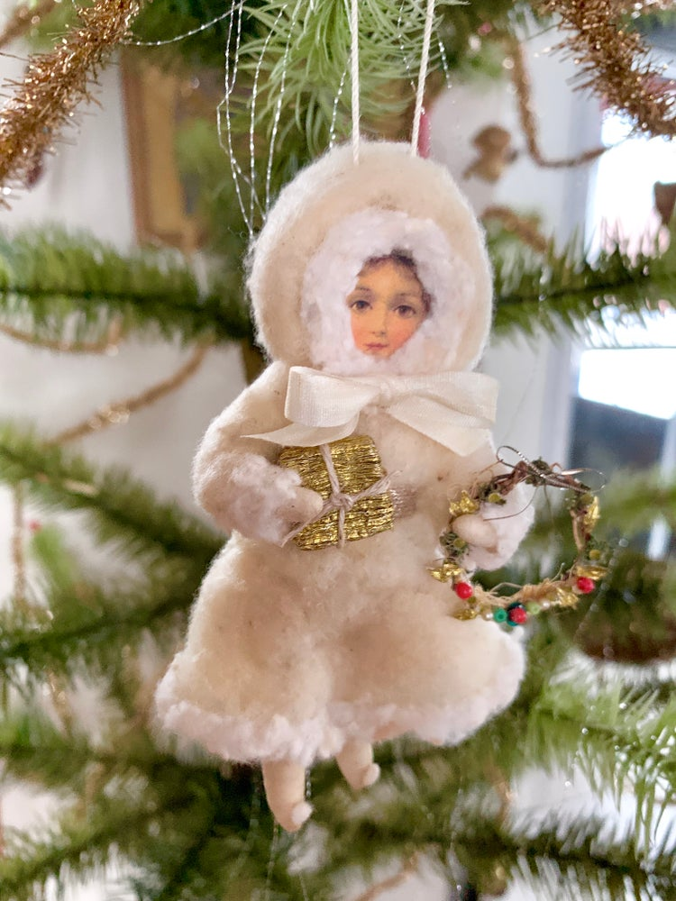 Image of Victorian Winter Girl with Gift and Wreath