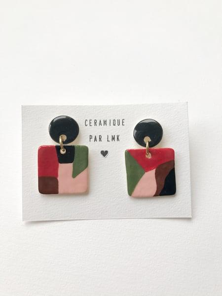 Image of Paire de boucles d'oreilles céramique TABLEAU