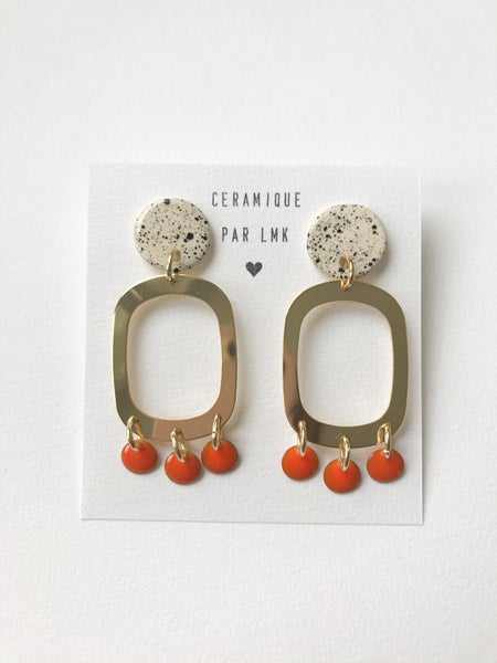 Image of Paire de boucles d'oreilles MELANGA Splash noir et orange
