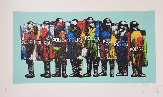 "Image of KGUY ""PAINT BOMB POLICIA"" - 6 COLOUR SCREENPRINT, HAND SPRAYED BACKGROUND - MINT ED - 85CM X 50.5CM"