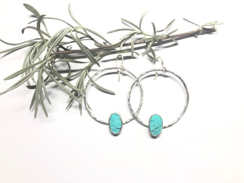 Image of Turquoise Oval Hoops