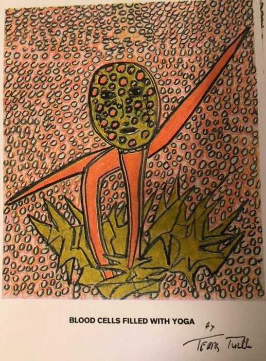 """Image of """"Blood Cells Filled With Yoga"""" by Terry Turtle (riso print)"""