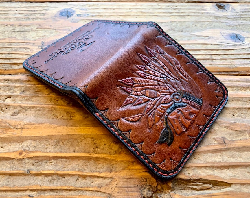 "Image of ""Chief"" Custom Bi-Fold Wallet with Cash Slot and Four Card Slots."