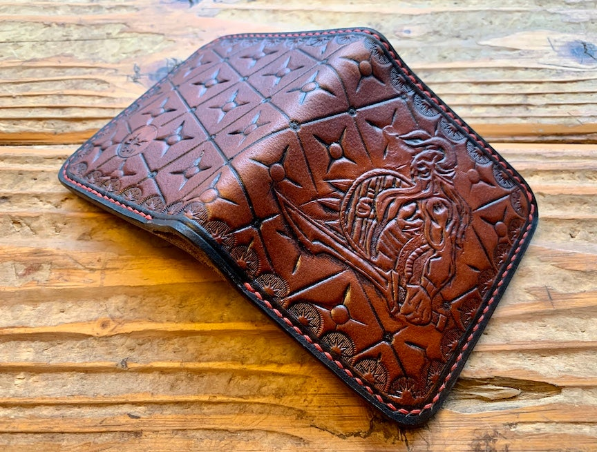 "Image of ""Rollo"" Custom Viking Bi-Fold Wallet with Cash Slot and Four Card Slots."