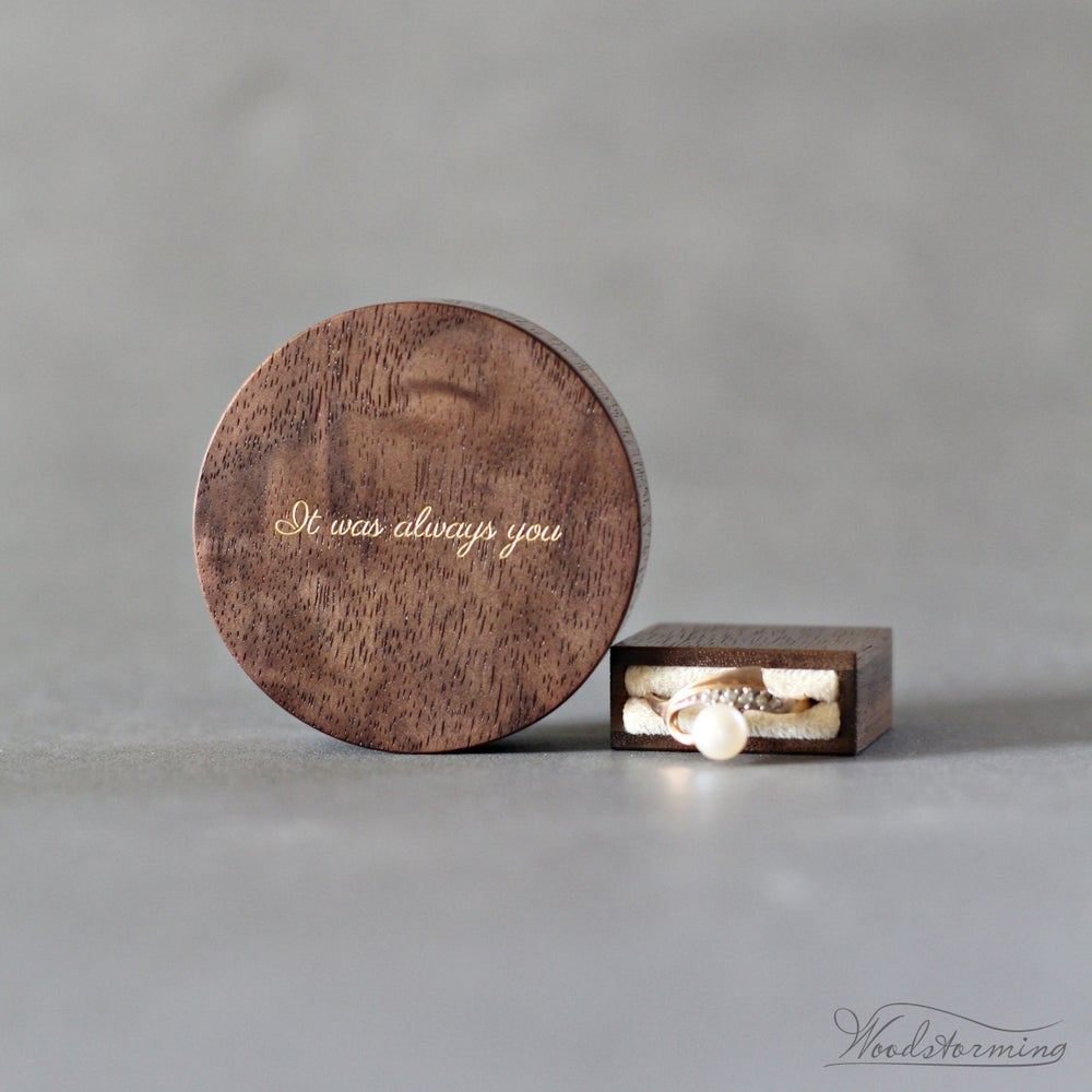 Image of Slim engraved engagement ring box - round proposal ring box with love quote inlay - ready to ship
