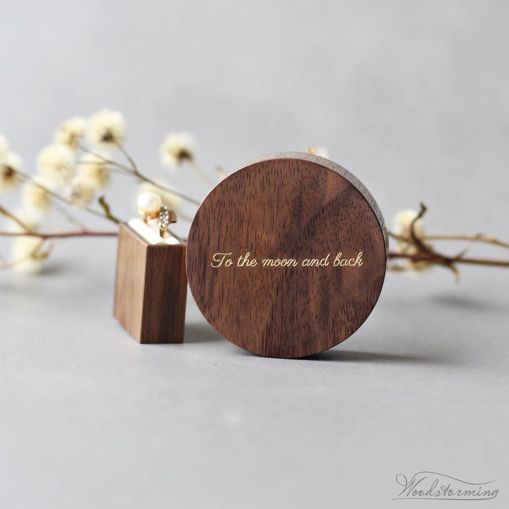 Image of Slim engraved proposal ring box - round engagement ring box with love quote inlay - ready to ship