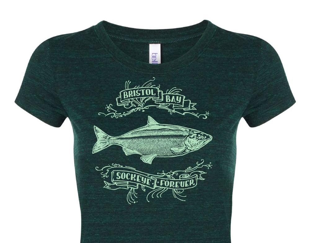 Image of Celebrating Bristol Bay Fisheries Green Ladies' Tshirt