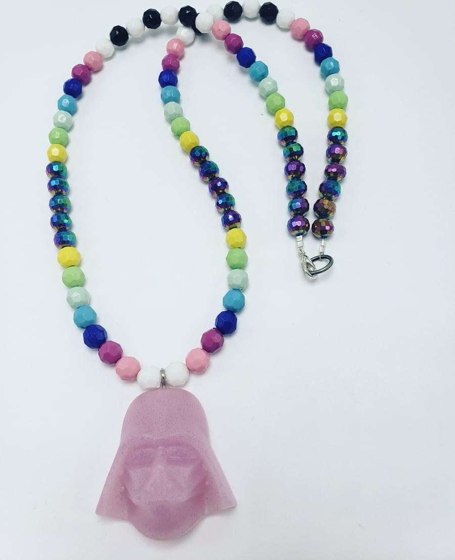 Image of Lit lavendar Darth Vader necklace