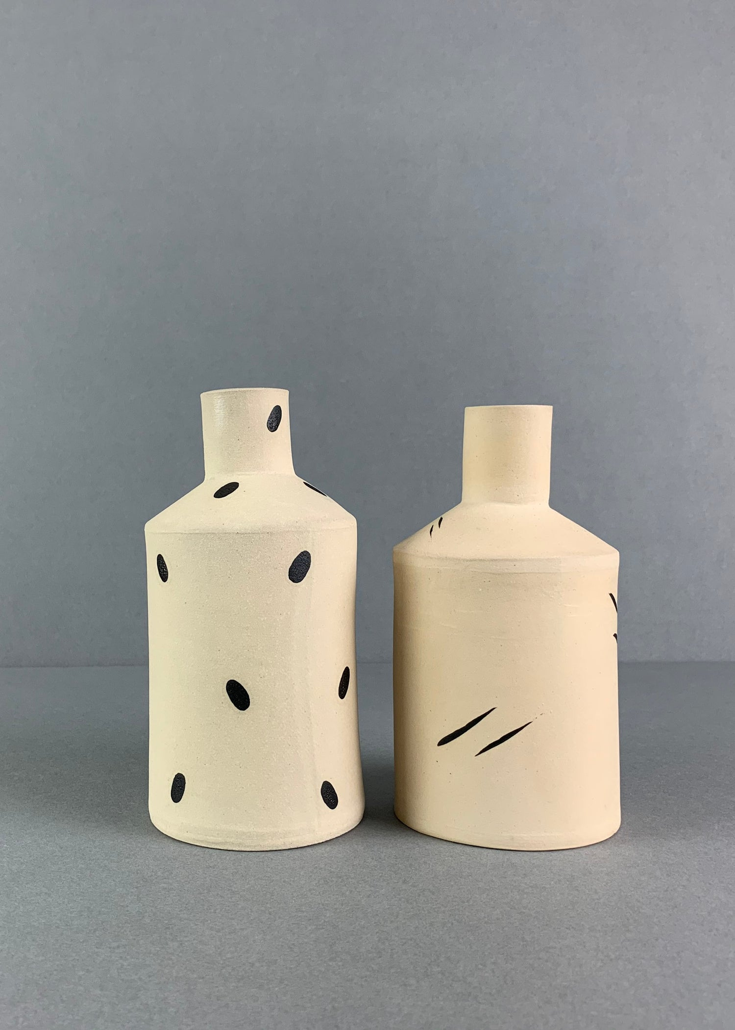 Image of Small Cream Brushstroke Bottle Vase