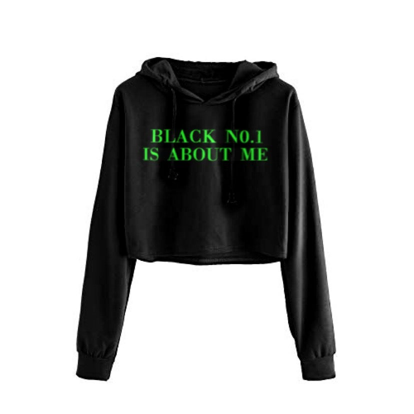 Image of Black No.1 Green Cropped Hoodie