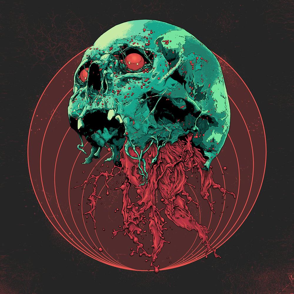 Image of Skull Full Of Blood Fine Art Giclee Print (Various Sizes)