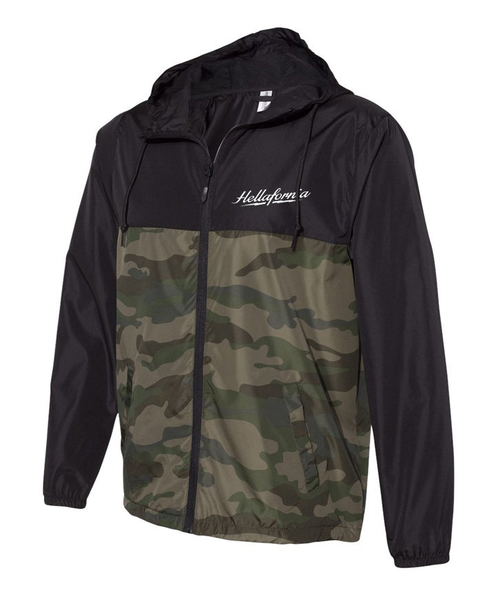 Image of camo/black lightweight windbreaker