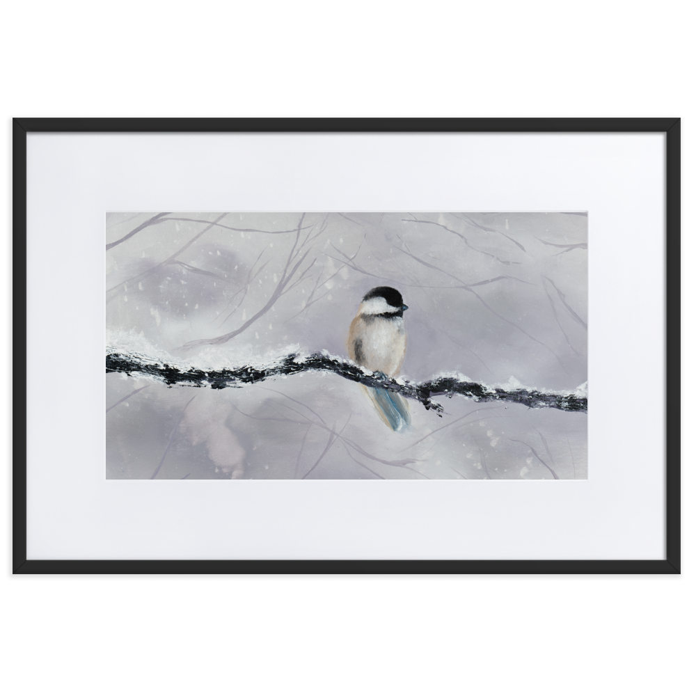 "Image of ""Winter Bird"" Matted Framed Poster Print"