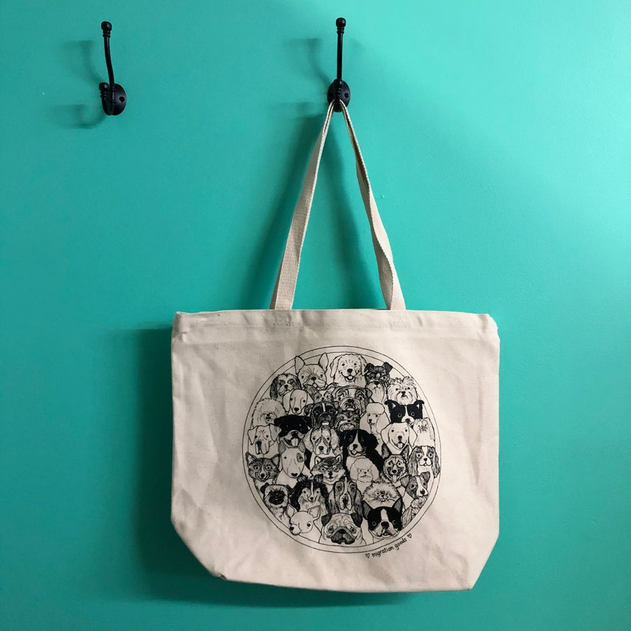 Image of dog crew XL tote bag