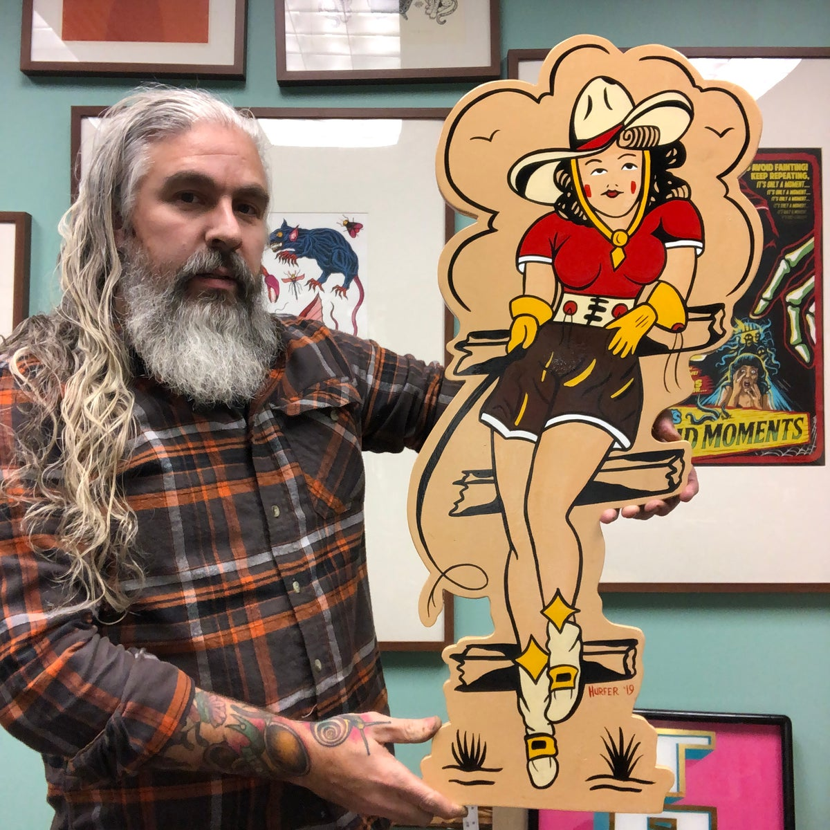 Image of Cowgirl (Sailor Jerry flash) hand painted wood cut out