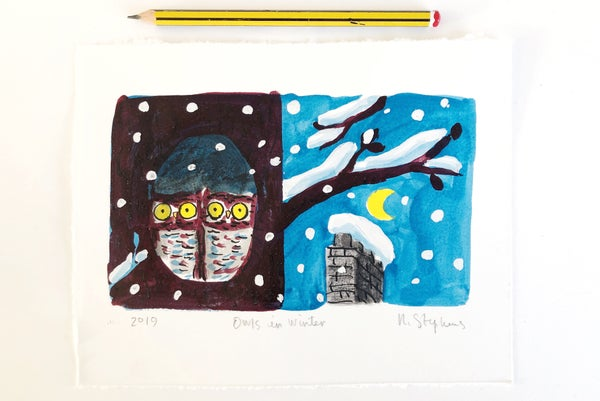 Image of 'Owls in Winter' Original Painting