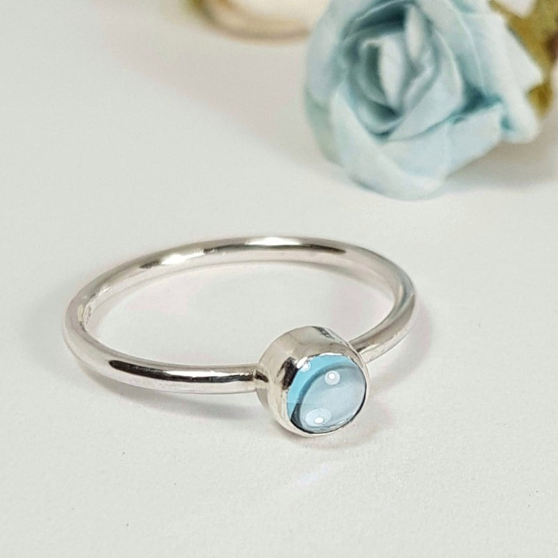 Image of Sterling Silver Blue Topaz Ring