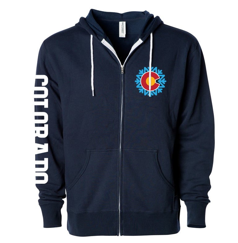 Image of COLORADO STATE SNOWFLAKE LOGO NAVY BLUE ZIP UP HOODIE