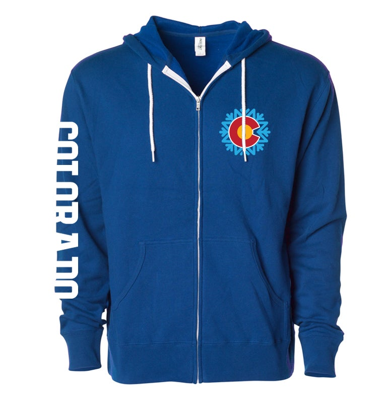 Image of COLORADO STATE EDIFICE SNOWFLAKE LOGO ROYAL BLUE ZIP UP HOODIE.