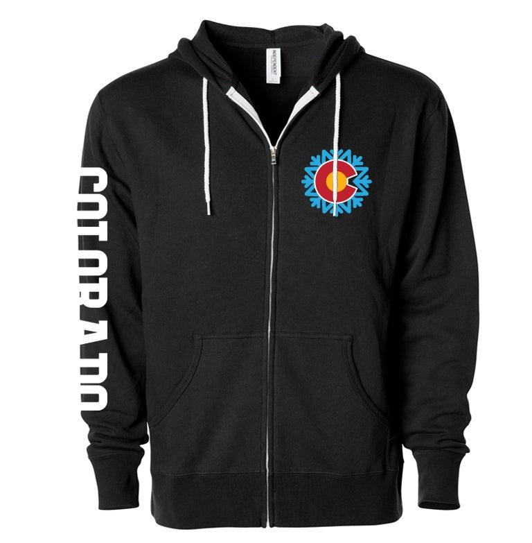 Image of COLORADO STATE SNOWFLAKE LOGO BLACK ZIP UP HOODIE