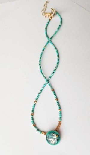 Image of Teal Porcelain + Turquoise Necklace