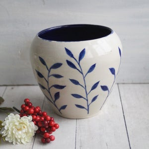 Image of Blue and White Pottery Vase with Botanical Design, Handmade Stoneware Made in USA