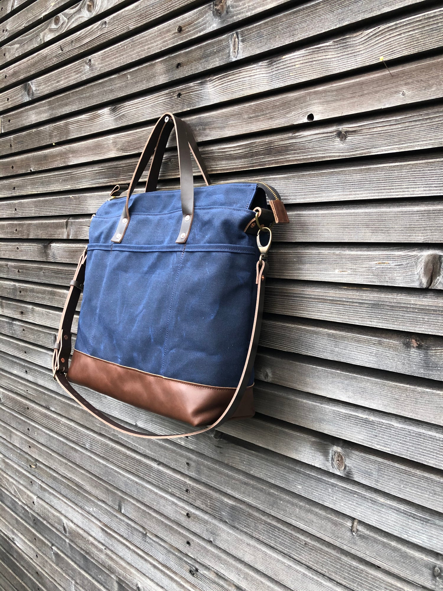 Image of Office tote bag made in blue waxed canvas, with detachable shoulder strap