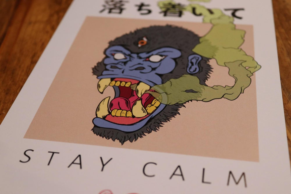 Stay calm gorilla print.